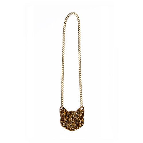 Sparkling-Gold Cat Necklace