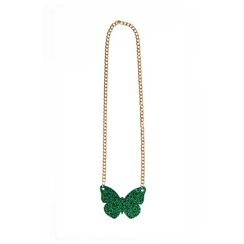 Green Glitter Butterfly with Gold Chain Necklace