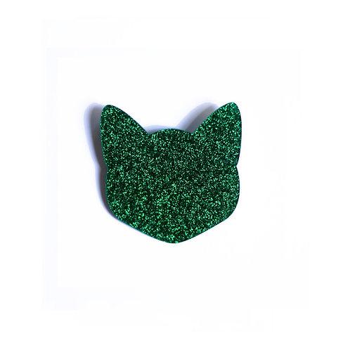 Green Glitter Cat Broche