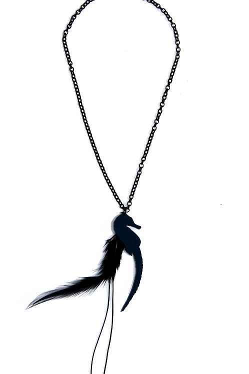 Black Necklace with Seahorse