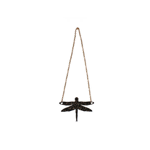 Dragonfly Necklace in Black and Gold Glitter