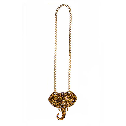 Glitter Gold Elephant Necklace