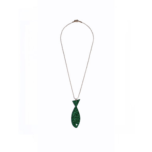 Necklace with Sparkling-Green Fish