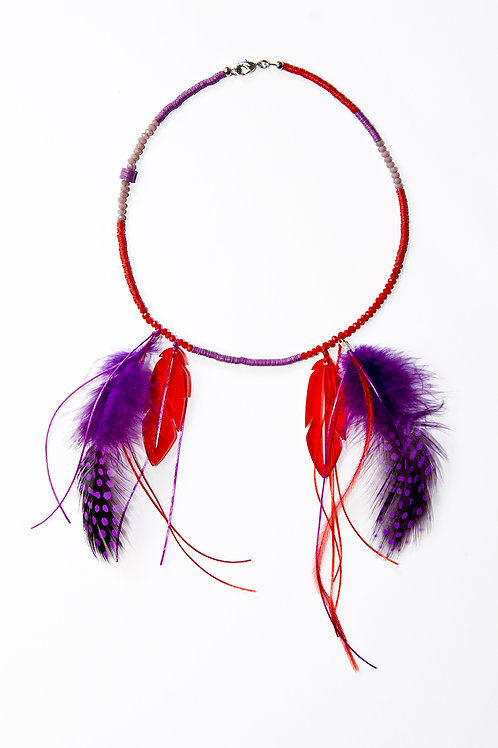 Red Purple Feather Necklace