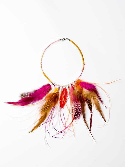 Mutli Coloured Feather Necklace