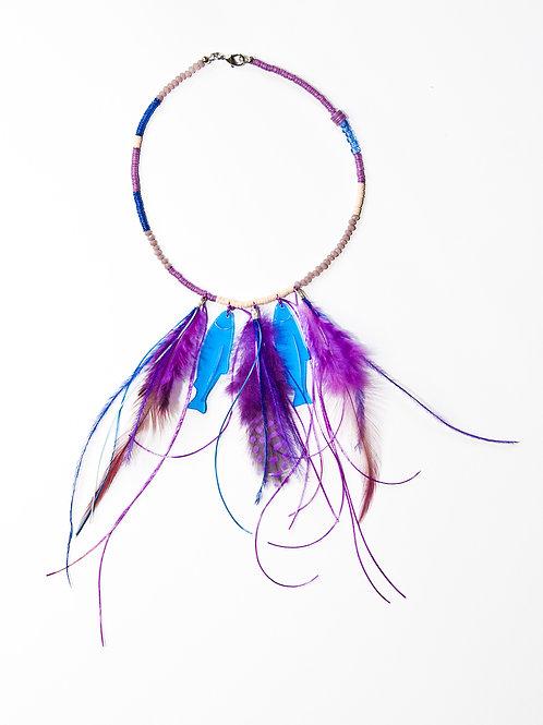 Blue Purple Fish Necklace