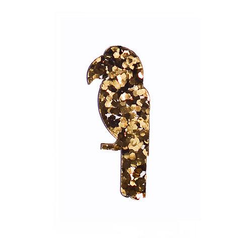 Gold Glitter Ara Broche
