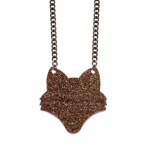 Brown Glitter Fox Necklace