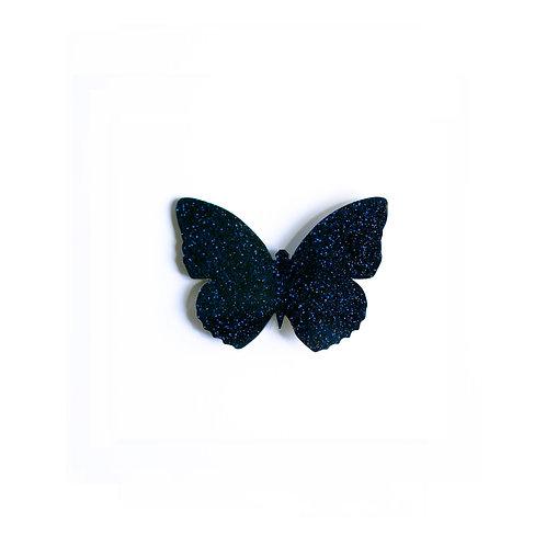Midnight-Blue Glitter Butterfly Broche