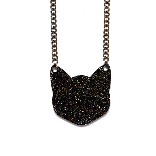 Black and Gold Glitter Cat Necklace