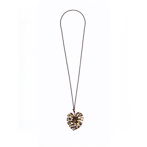Monstera Leaf Pendant in Glitter Gold