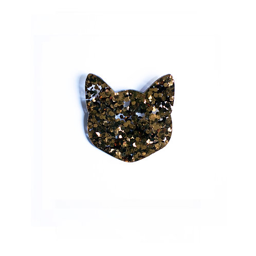 Glitter Gold Cat Broche