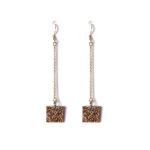 Square earrings long