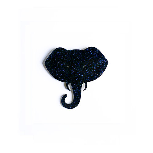 Midnight-Blue Glitter Elephant Broche