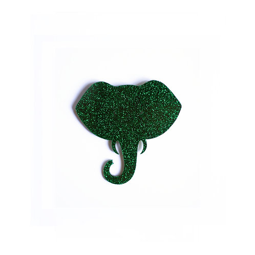 Glitter Green Elephant Broche