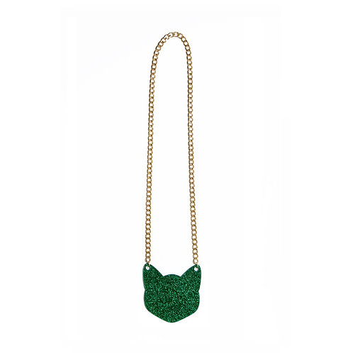 Glitter Green Cat Chain Necklace