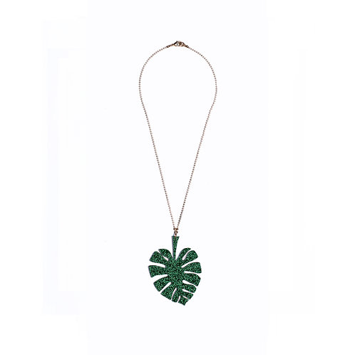 Sparkling-Green Monstera Leaf Necklace
