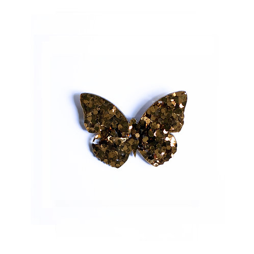 Gold Glitter Butterfly Broche