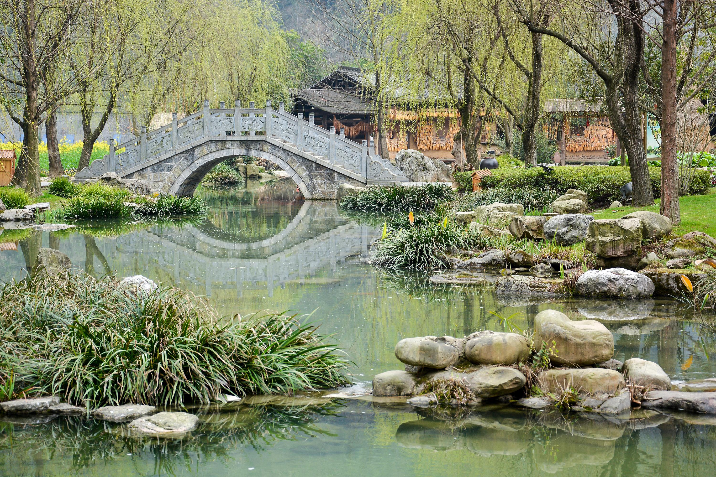 Chinese Garden With Ancient Stone Bridge.jpg