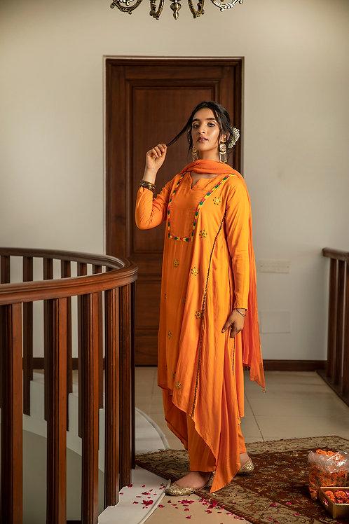 Orange Adari kurta, palazzo & dupatta