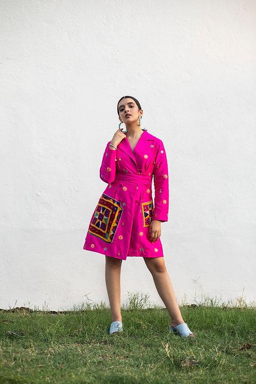 Pink Vanjari Patch Jacket Dress