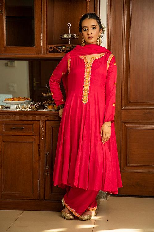 Rani pink adariya suf kurta, palazzo & dupatta