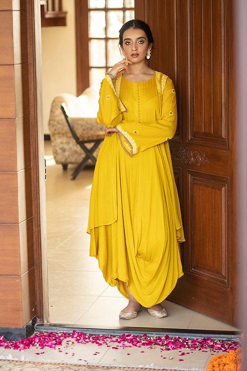 Yellow niboriyo dress and sleeveless jacket