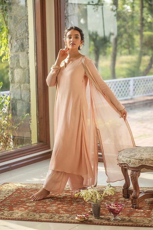 Dusty pink kurta, palazzo & patti  jacket