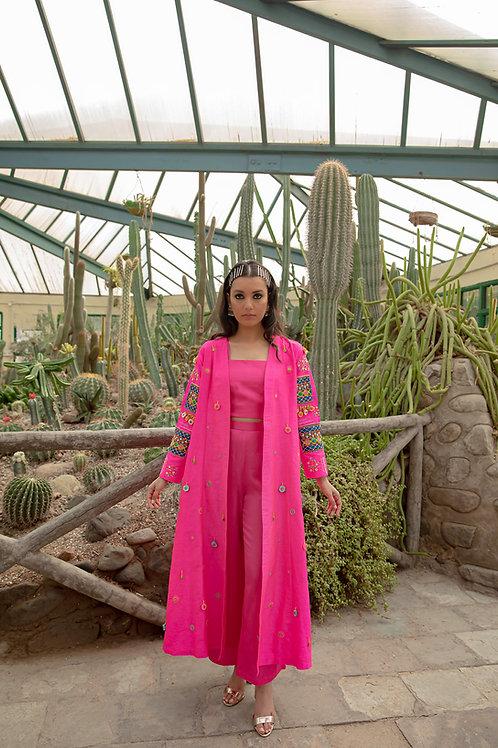 Pink Vanjari Patch Jacket