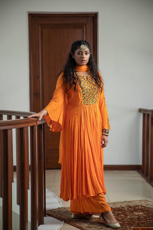 Orange khilan kurta, palazzo & dupatta set