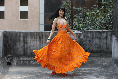 Orange Embroidered Wrap Top & Skirt