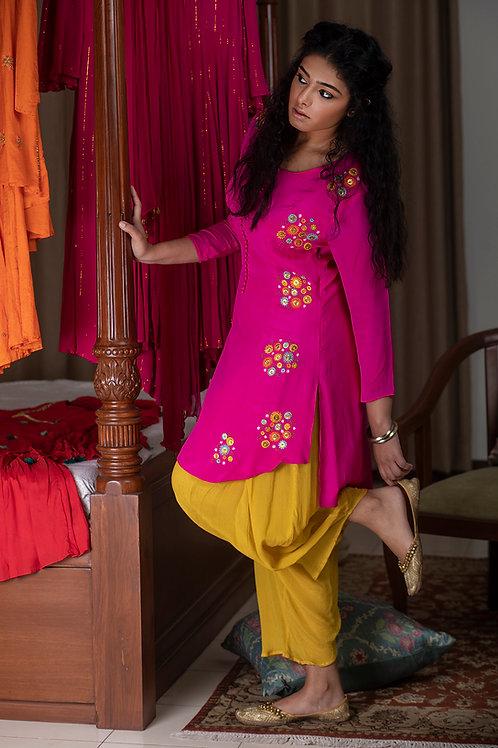 Fuchsia pink phool kurta & Yellow dhoti pants