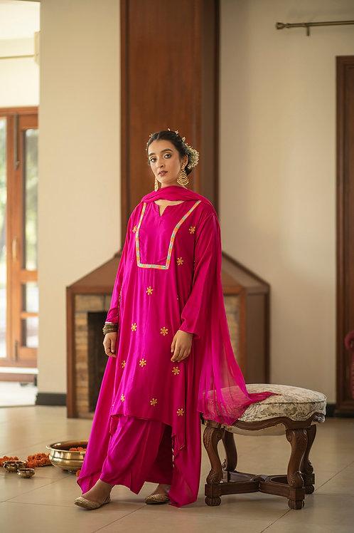 Pink adari kurta, palazzo & dupatta