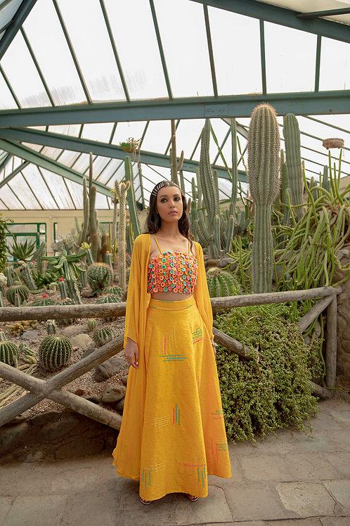 Yellow Tassel Top & Skirt