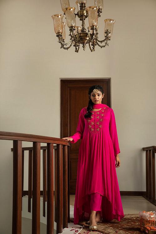 Pink sitara anarkali kurta,palazzo & dupatta