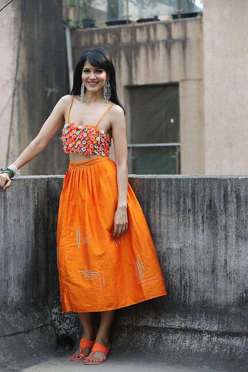 Orange Tassel Top & Skirt