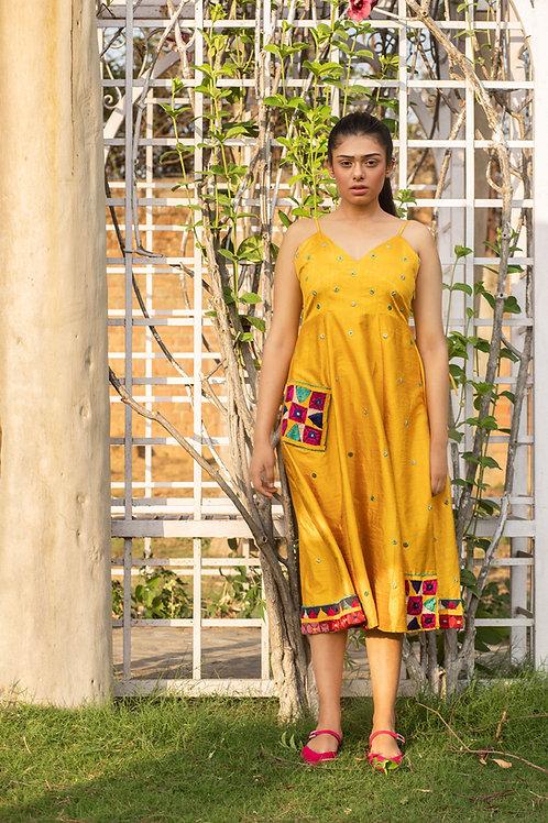 Yellow Vanjari Patch Dress