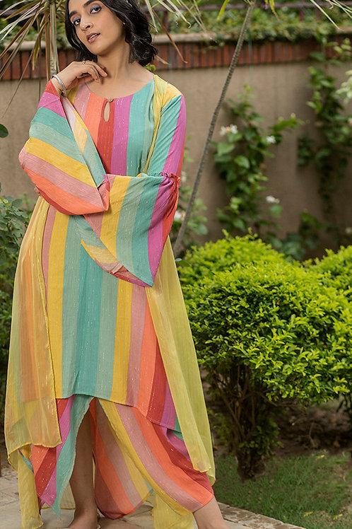 Colour Drip Uneven Hem Maxi Dress & Sheer Overlay