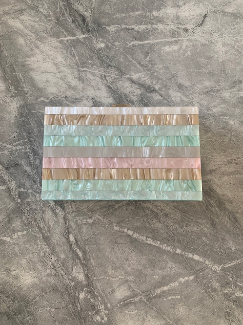 STRIPE PASTEL Acrylic Box Clutch