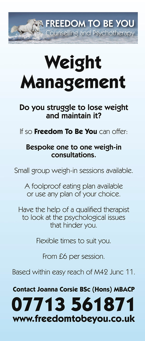 Freedom To Be You Weight Management offers bespoke weight loss management from a qualified Psychotherapist.