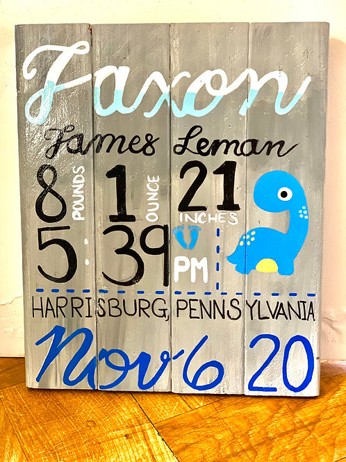 Baby Welcome Stat Board