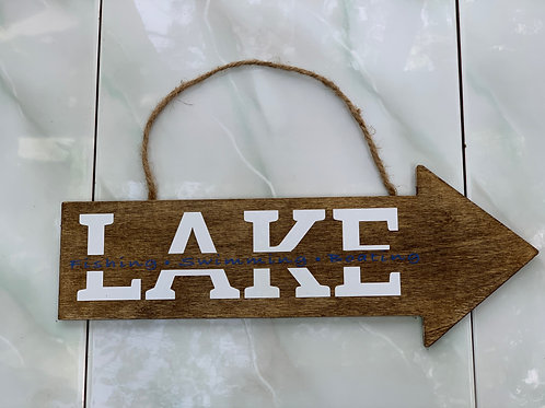 """""""Lake"""" Home Decor Wooden Sign"""