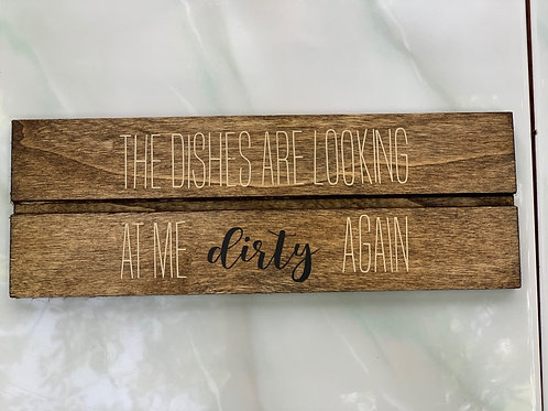 Dishes Wooden Wall Sign