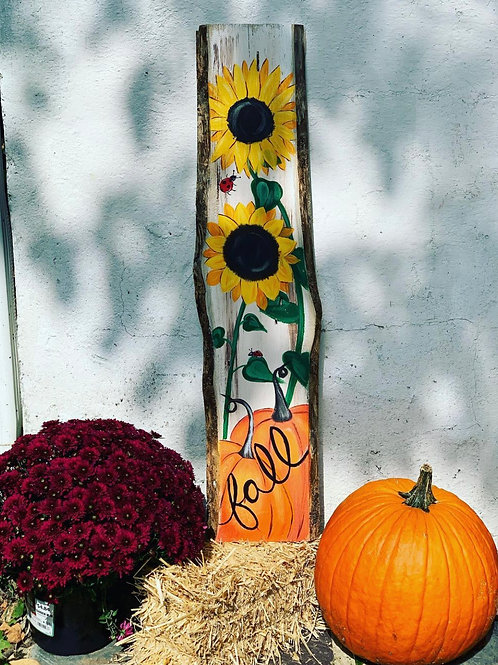 Fall Pumpkin & Sunflowers entry sign