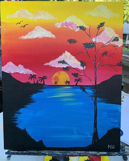 Sunsets #sunset #palms #deadtree #birdsn