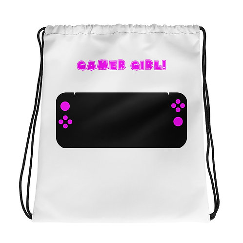Gamer Girl Drawstring Bag-White