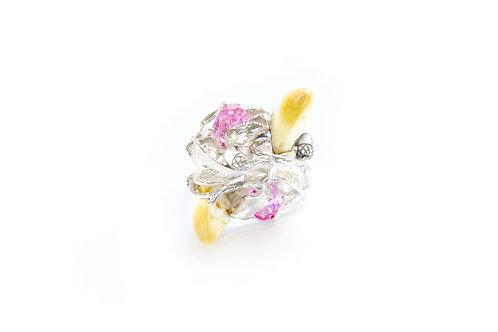 310€ - Anel de prata com turmalinas rosas e grandl