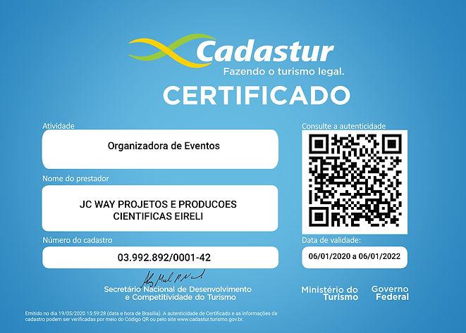 CERTIFICADO JC WAY - CADASTUR ORGANIZADO