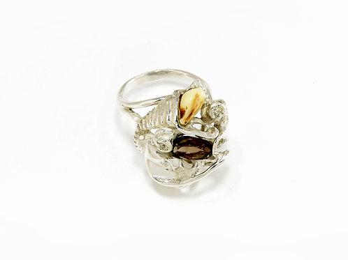 235€ - Anel de prata com quartzo fumêegrandel