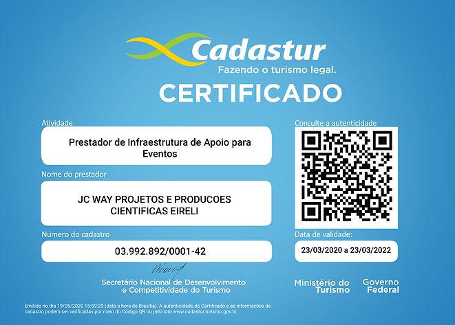 CERTIFICADO JC WAY - CADASTUR APOIO PARA